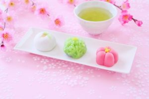 和菓子、デザート、ひな祭り、雛祭り、春、お茶、桜、さくら、まんじゅう、大福