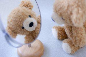鏡、かがみ、真似、くまのぬいぐるみ
