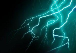 雷、落雷、かみなり、カミナリ、電気ショック、放電、電流、ビリビリ