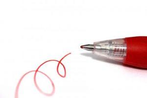 赤ペン、赤文字、ボールペン、文房具