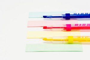 蛍光ペン、ふせん、付箋、文房具、筆記用具