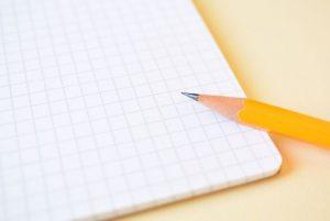 方眼紙、ノート、紙とペン