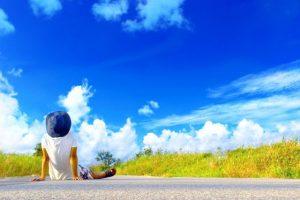 夏休み、夏、空、青い空、白い雲、自然、田舎