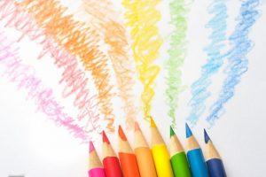 色鉛筆、色エンピツ、カラフル、想像、落書き、空想、虹色、レインボー