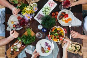 食事会、飲み会、野菜、ごはん